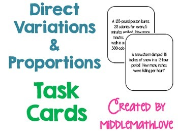 Direct Variation & Proportion Story Problem Task Cards (Middle School Math)