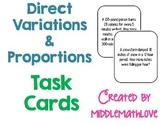 Direct Variation & Proportion Story Problem Task Cards (Mi