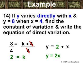 Direct Variation in a PowerPoint Presentation