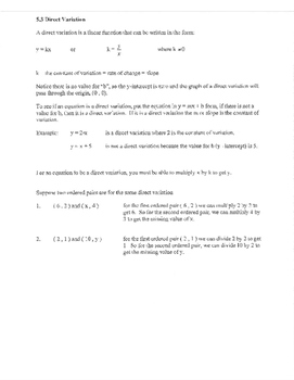 Direct Variation notes k example