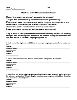 Direct and indirect characterization worksheet for middle school