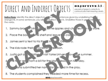 Direct and Indirect Object PowerPoint and Worksheet Bundle