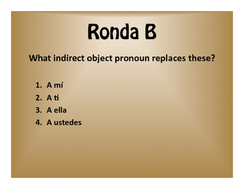 Spanish Direct and Indirect Object Pronoun $1000 Pyramid Game