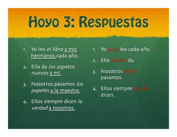 Spanish Direct and Indirect Object Pronoun Golf
