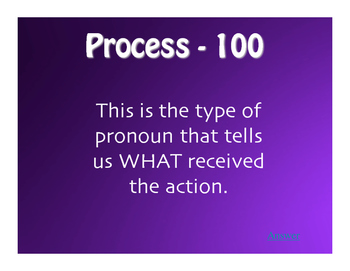 Spanish Direct and Indirect Object Pronoun Jeopardy-Style Review Game