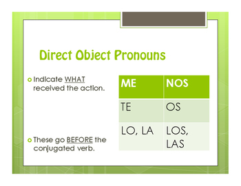 Spanish Direct and Indirect Object Pronoun Notes