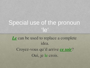 Direct and Indirect Object Pronoun Power Point for French