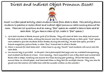 Direct and Indirect Object Pronoun Scoot for French