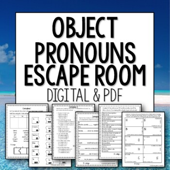 Direct and Indirect Object Pronouns Break Out Escape Room Spanish Activity