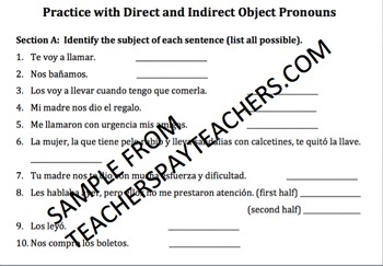 Direct and Indirect Object Pronouns Practice