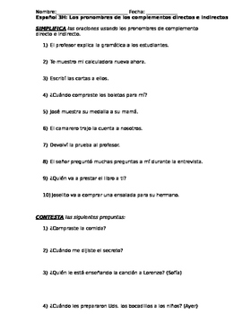Direct and Indirect Object Pronouns Quiz Spanish