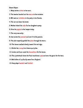 Direct and Indirect Objects Practice - with Key