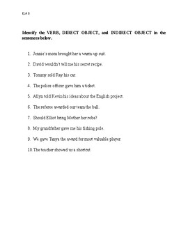 Direct and Indirect Objects Test