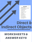 Direct and Indirect Objects - Worksheets & Answer Keys