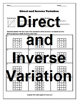 direct and inverse variatio by algebra funsheets teachers pay teachers. Black Bedroom Furniture Sets. Home Design Ideas