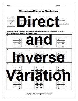 direct and inverse variation bundle by algebra funsheets tpt. Black Bedroom Furniture Sets. Home Design Ideas
