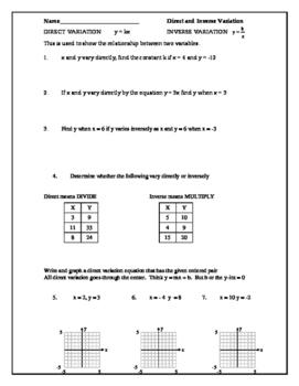 Direct and Inverse Variation Classwork (Algebra 1/2)