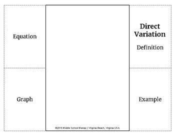 Direct and Inverse Variation Foldables