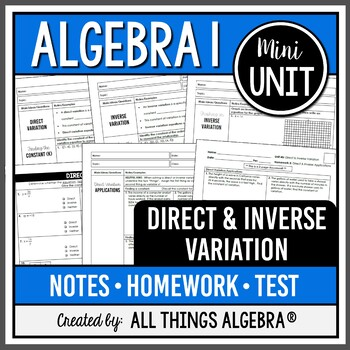 direct and inverse variation algebra 1 by all things algebra teachers pay teachers. Black Bedroom Furniture Sets. Home Design Ideas