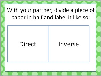 Direct and Inverse Variation SMACK DOWN Game!