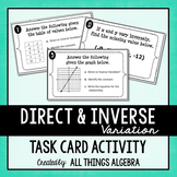 Direct and Inverse Variation Task Cards