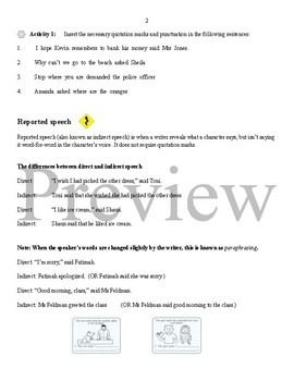 Direct and Reported Speech Rules and Activities + Answer Key