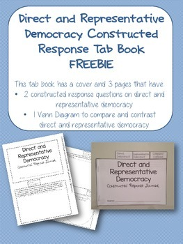 Direct and Representative Democracy Constructed Response Tab Book FREEBIE