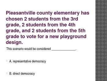 Direct and Representative Democracy Powerpoint Quiz