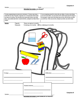 Direct object pronouns + Tener Speaking Activity