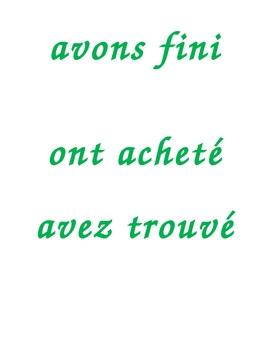 Pronoms compléments Direct object pronouns with passé composé Sentence strips