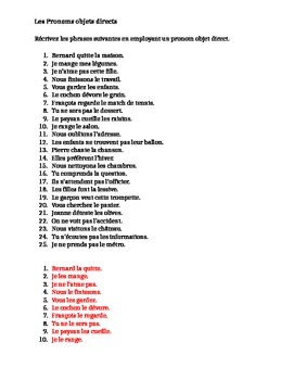 Pronoms compléments Direct object pronouns French worksheet 6