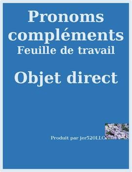 Pronoms compléments Direct object pronouns French worksheet 7