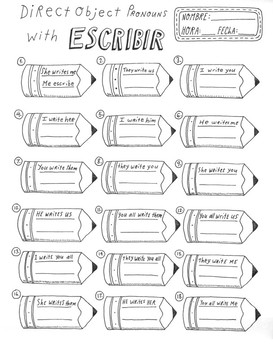Direct object pronouns with the verb ESCRIBIR ~Spanish translations ~No Prep