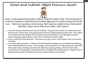 Direct/Indirect Object Pronoun Power Point and Scoot Activ