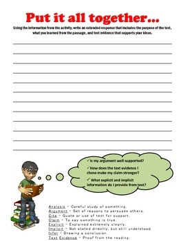 Direct/Indirect Text Evidence Printable