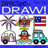 Directed Drawing 4th of July Summer Vacation Travel Pengui