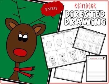 Directed Drawing - December Themed Bundle (reindeer, Santa, gingerbread)