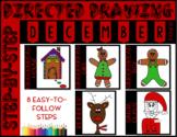 Directed Drawing - December Themed Bundle (reindeer, Santa
