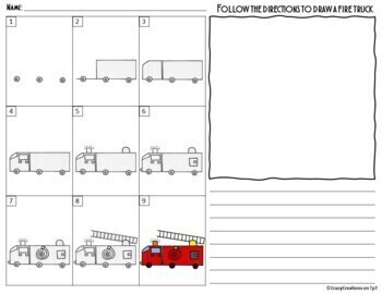 FIRE TRUCK Directed Drawing & Writing Prompts