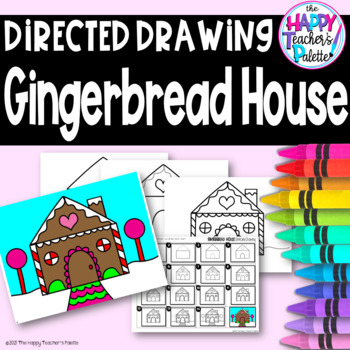 Christmas Gingerbread House Drawing.Directed Drawing Gingerbread House