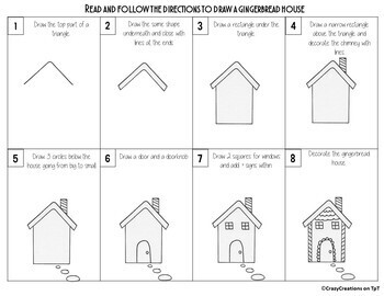 Christmas GINGERBREAD HOUSE Directed Drawing & Writing Prompts