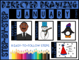 Directed Drawing - January Themed Bundle (Martin Luther King, snowman, penguin)