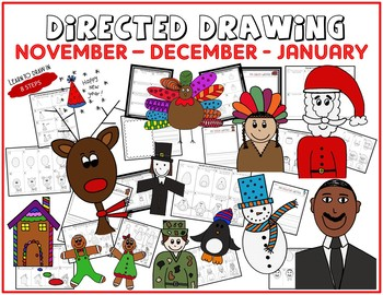 Directed Drawing - November-December-January Themed Bundle