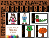 Directed Drawing - September Themed Bundle (girl, boy, bookworm, trees)