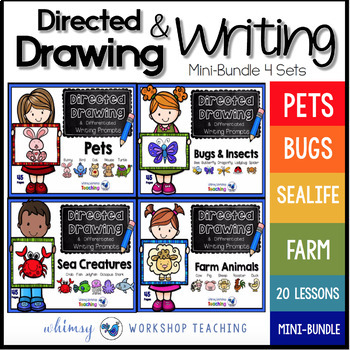 Directed Drawing With Writing Prompts  (Small Bundle 180 pgs)
