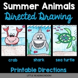 Directed Drawings - 3 Summer Animals - Sea Turtle, Shark, Crab