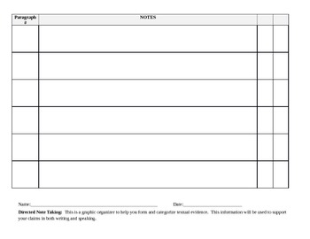 Directed Note Taking Chart