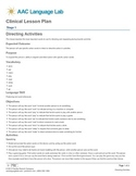 Directing Activities Lesson Plan
