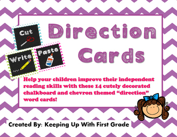 Direction Cards Chalkboard and Chevron Style