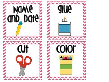 Direction Cards Pink Chevron
